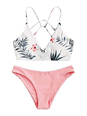 Features: Plunge neck, wireless, criss cross, lace up back bikini top, palm print, high cut bikini bottom, two piece swimsuits Soft with good elasticity, comfy to wear. Occasion: Beachwear, swimming pool, hot spring, photographs and other water activ...