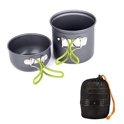 Kit de utensilios de cocina Ecent 2x piezas, ollas para camping de aluminio