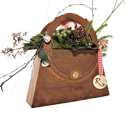 Rostikal Tasche 21 x 21 cm   Gartendeko Pflanzschale in Rostoptik   Dekoideen Herbst rostige Deko für den Garten