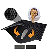 Pieviev Cat Litter Mat Litter Trapping Mat, 30' X 24' Inch Honeycomb Double Layer Design Waterproof Urine Proof Trapper Mat for Litter Boxes, Large Size Easy Clean Scatter Control (Black)