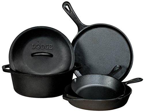 Lodge L5HS3 5-Piece Pre-Seasoned Cast-Iron Cookware Set by Lodge