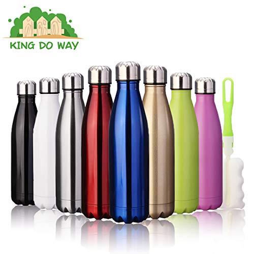 king do way Doppelwandige Edelstahl Trinkflasche Isolierflasche, 500ml BPA Frei Thermobecher, Thermosflasche Sportflasche Bottle Auslaufsichere Flasche für Sport, Outdoor, Camping, Büro (Lila)