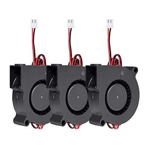 Vordas 3 Pezzi Ventola Stampante 3d - 12V 5015 50 x 50 x 15 mm 5015 con 1m Cavo Ventola Radiatore Del Ventilatore a Turbina per Stampante 3D, Accessori per Stampanti 3D-A