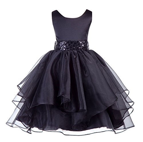 ekidsbridal Asymmetric Ruffled Organza Sequin Flower Girl Dress Toddler Girl Dresses 012S 4 Black