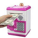 Suliper Baby Toy for Children Electronic Code Lock Piggy Banks Mini ATM Electronic Coin Bank Box for Kids Birthday Gift (White/Pink)