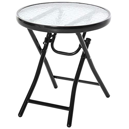 Outsunny Tavolo da Giardino Pieghevole in Metallo con Ripiano in Vetro e Blocco di Sicurezza, 45x50cm Nero