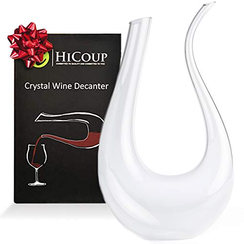 Wine Decanter by HiCoup  100% Lead-Free Crystal Glass, Hand-Blown Red Wine Decanter/Carafe, Provides Intense Aerating in a Stunning U Shape Design