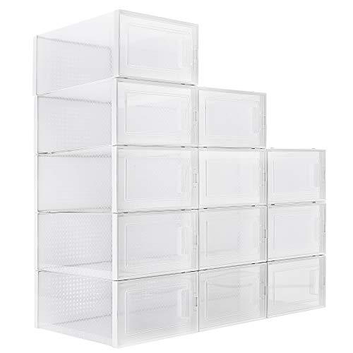 WAYTRIM Foldable Shoe Box, Stackable Clear Shoe Storage Box -...