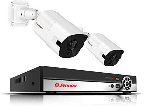 BD.Y 2CH 5MP HD Poe Kit di videosorveglianza Telecamera IP Sistema Audio Esterno Sistema di telecamere di Sicurezza Domestica Sistema di videosorveglianza TVCC NVR H.265 HD, 1TB