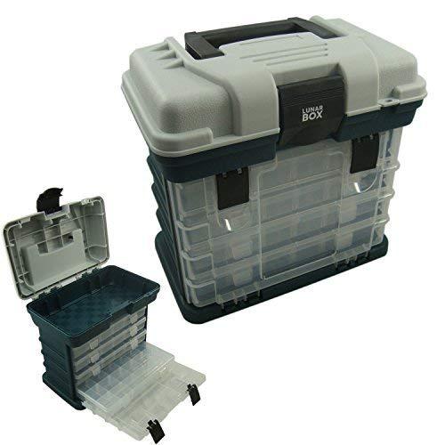 Lunar Box, Custodia per Trasporto con 4 Vassoi Regolabili Estraibili Trasparenti, Scatola per Attrezzatura da Pesca E Accessori