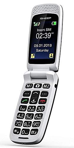 ISHEEP SF213 GSM Téléphone Senior Clapet Portable Débloqué avec Grandes Touches
