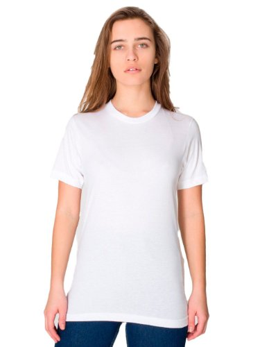 American Apparel Mens Fine Jersey Short-Sleeve T-Shirt (2001) -WHITE...