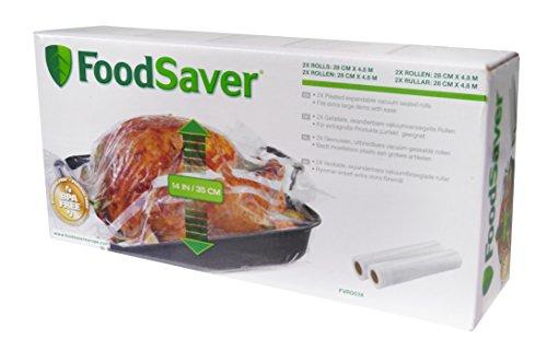 FoodSaver 2 Rotoli Termosigillabili Espandibili per Macchina per Sottovuoto Alimenti, senza BPA, 28 cm x 4.8 mt