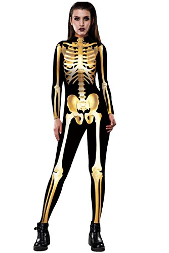 URVIP Skelett Overall Damen Knochen Skeleton Halloween Kostüm Bodysuit Anzug Karneval Fasching BAX-007 L