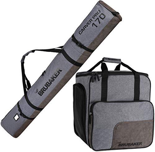 Brubaker Kombi Set Carver Performance - Skisack und Skischuhtasche für 1 Paar Ski + Stöcke + Schuhe + Helm - Grau meliert Schwarz - 170 cm