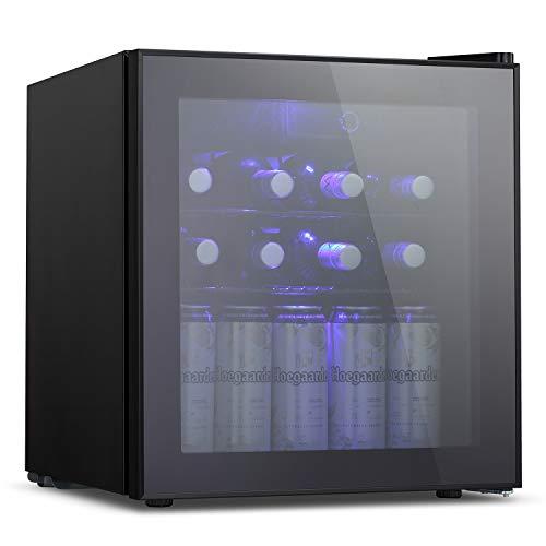 Antarctic Star 1.6cu.ft Wine Cooler/Cabinet Beverage Refigerator Small Wine Cellar Soda Beer Counter Top Bar Fridge Quiet Operation Compressor Freestanding Door Black Glass