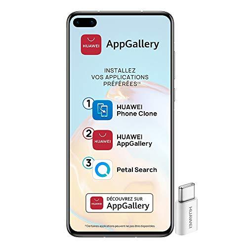 Huawei P40 Smartphone débloqué 5G (6,1 pouces - 8/128go - Double Nano SIM EMUI 10.1 & AppGallery) Argent + 52VA Adapter - Type C Plug [Version Française]