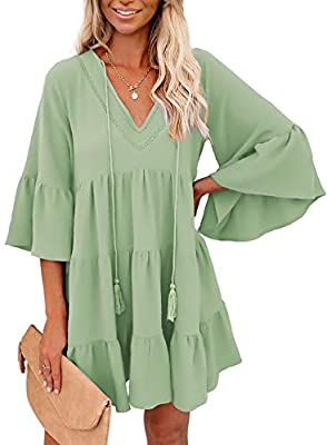 ❤Summer tunic dress is made of Polyester and Spandex,Lightweight and elegant,without shrinkage,soft and stretch,make you feel comfortable ❤Plain t shirt dress is casual style,v neck,bell sleeve,pleated tiered,tassle design,loose fit,pleated swing dre...