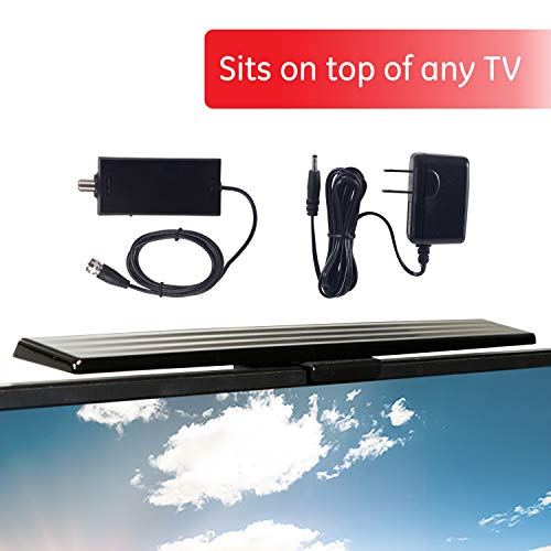 GE UltraPro HD Amplified TV Antenna, Easy Mount to Top of TV Design, Supports 4K 1080P Digital HDTV VHF UHF, Indoor, Long Range, Included Amplifier Signal Booster, AC Adapter, and 5 ft. Coax, 37075