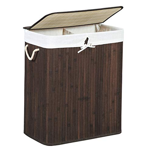 SONGMICS Wäschekorb aus Bambus, Wäschesammler mit 2 Fächern, Wäschesortierer mit Deckel und herausnehmbarem Wäschesack, Tragegriffe aus Baumwolle, 100 L Wäschebox, braun LCB72Z