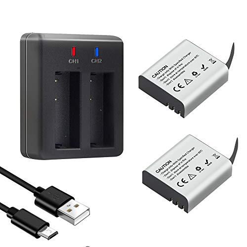 Action Camera Batteria, 3.7V 1350mAh 4.995Wh ricaricabile Batterie (2 pezzi) con doppio caricatore, compatibile con AKASO EK7000/Dragon Touch/EKEN/Crosstour/Campark/APEMAN/Victure/SJ4000/PG1050