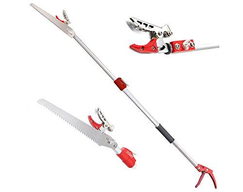 DCM 6.5-13 Feet Telescoping Cut Hold Long Reach Bypass Garden Pruner, Pole Saw, Extendable Saw, Fruit Picker Harvester, Gardening Shear (4 Meter)