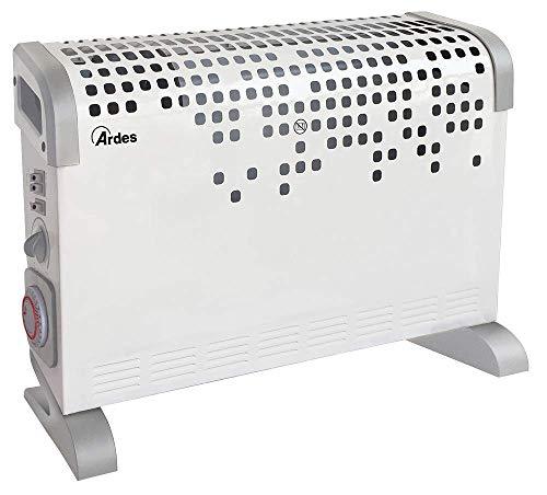 Ardes AR4C03T - Termoconvettore Turbine Time Turbo Ventilato con Termostato, Timer 24 H e 3 Potenze Design, 2000 W, Grigio/Bianco, 51 x 17 x 40 cm