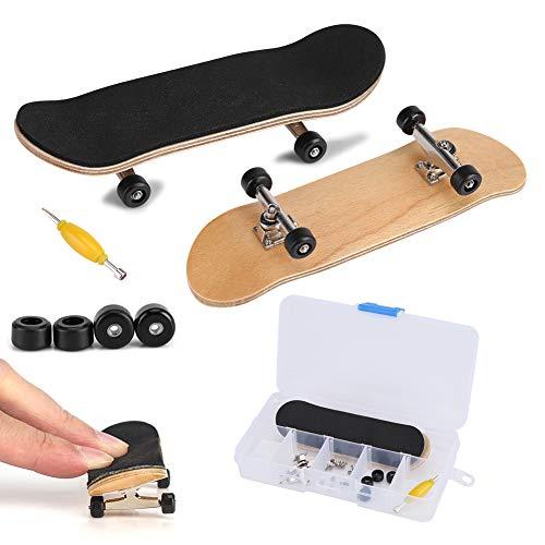Fingerboard Finger Skateboards, Mini diapasón, Patineta de dedos profesional para Tech Deck Maple Wood DIY Assembly Skate Boarding Toy Juegos de deportes Kids Christmas Gift(Negro)