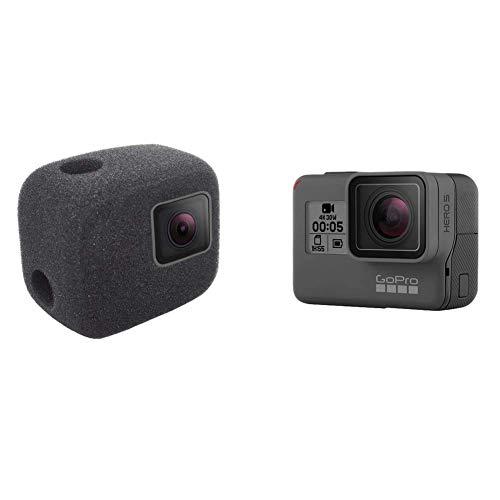 Komet WindSlayer - Custodia in schiuma per parabrezza + pellicola protettiva in vetro (2+2 pezzi) compatibile per GoPro Hero 7 (solo nero) / Hero 6 / Hero 5 impermeabile fotocamera digitale