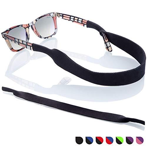 Sunglass Glasses Strap - 2 Pack Sport Eyewear Retainer - Anti Slip Fast Drying - Fits All (Black)
