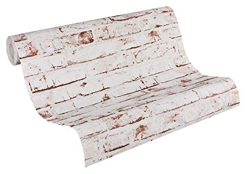 A.S. Création papel pintado de tejido-no-tejido New England beige marrón rojo 10,05 m x 0,53 m 907813