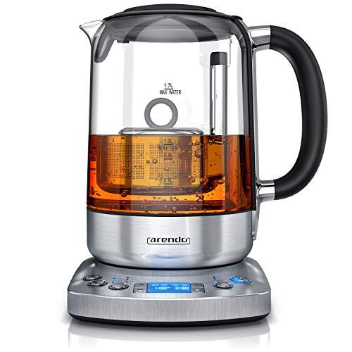 Arendo - Glas Wasserkocher mit Auto Lift Funktion - Teekocher mit Temperatureinstellung - 24 Stunden Timer - 5 Teeprogramme – Warmhaltefunktion – 70-100°C in 5°C Stufen – Edelstahl – GS - BPA frei