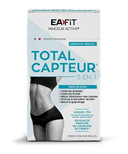 EAFIT Total Capteur- Perte de Poids 5en1 Dispositif Médical - 60 Gélules - Capte les Graisses et les Sucres - Réduit l'absorption des Calories, Diminue la Sensation de Faim, Réduit le Grignotage