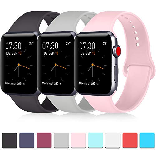 ATUP Pack 3 Compatible with iWatch Band 38mm, Soft Silicone Band Compatible iWatch Series 4, Series 3, Series 2, Series 1 (Black/Gray/Pink, 38mm/40mm-S/M)