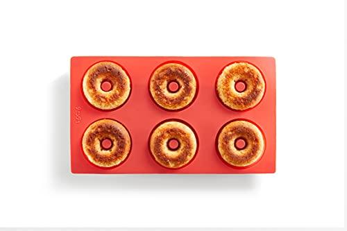 Lékué 0620406R01 Molde Silicona Repostería Doughnut 6 cavidades Rojo, 540 milliliters