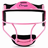 Champion Sports Steel Softball Face Mask - Classic Baseball Fielders Masks for Youth - Durable Head Guards - Premium Sports Accessories for Indoors and Outdoors - Pink