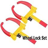 VaygWay Tire Clamp Wheel Lock- 2 Pack Metal Boot Stabilizer -Anti Theft Wheel Chock Lock Car Trailer Wheel-Security Travel Locking Claw Auto- Camper Car Van Truck SUV fits
