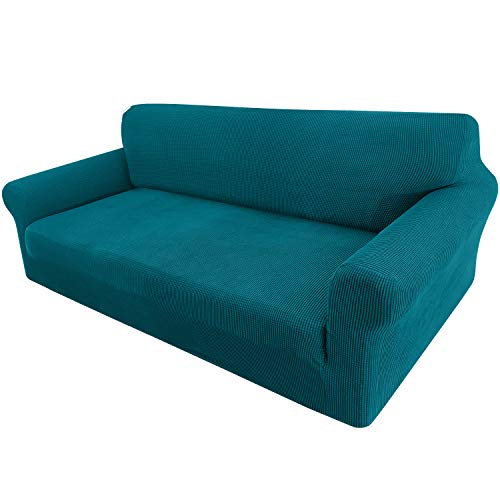 Granbest - Copridivano estensibile in tessuto jacquard 1 pezzo per divano 4 posti con braccioli, rivestimento per divano (4 posti, blu/verde)