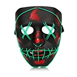 Halloween Purge Mask, Led Light Up Glowing Scary Mask with EL Wire for Kids Adults Costume Cosplay (Green)