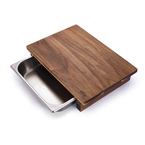 OLEIO Schneidebrett mit Auffangbehälter aus Akazienholz, Profi Küchenbrett aus Vollholz mit Auffangschale,Maße:32x29x8,50cm