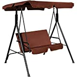 Tangkula 2 Person Canopy Swing Weather Resistant Glider Hammock Porch Garden Backyard Lawn Cushioned Steel Frame Loveseat Swing Chair Bench Seat Patio Furniture(Coffee)