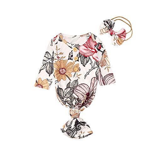 Infant Newborn Baby Girls Floral Sleep Gown Headband Sleepwear...