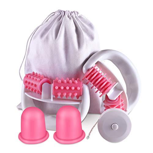 Anti Cellulite Roller Massageroller & Schröpfen Cup Set Anti Cellulite Massage gegen Cellulite und Hautproblemen Massagegeräte Tools Set mit Transport-Tasche und Lineal,Pink