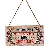 YeahiBaby Adornos de Navidad en Madera para Puerta Decoracion Navidad Placa Decorativa Vintage Retro...