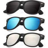 Polarized Sunglasses for Men and Women Matte Finish Sun glasses Color Mirror Lens 100% UV Blocking (Set of 3)