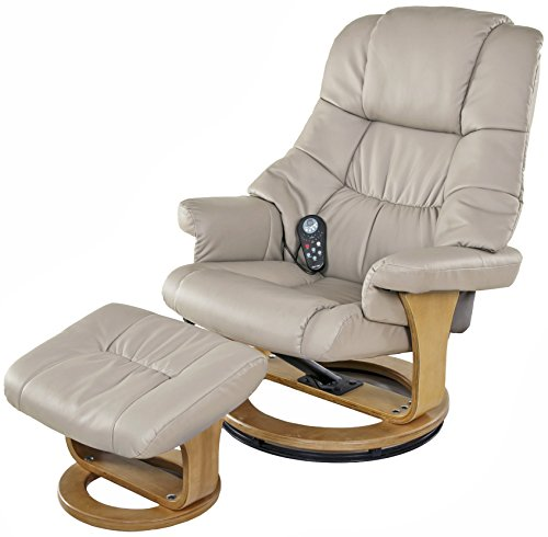 Relaxzen 8 Motor Massage Recliner with Heat and Ottoman, Beige and Wood Base