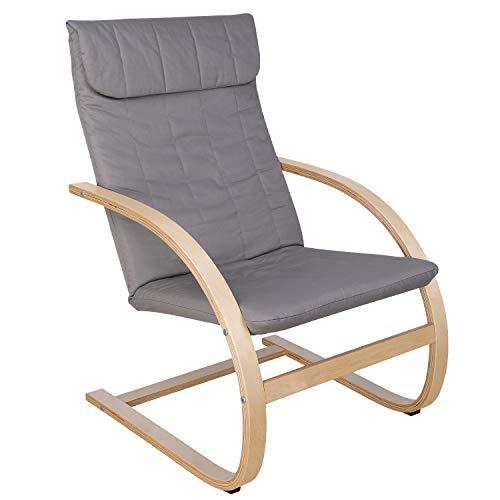 HOMECHO Relaxstuhl Relaxsessel Schwingsessel Sessel Ruhesessel Freischwinger Stuhl 100{5165d86feeaba198aec0869fe0ce73015bb43ca106851e8e0a6ef111fd921051} Baumwolle Skandinavische Mode Grau Birkenholz Belastbarkeit 120 kg