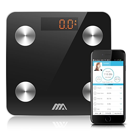 Adoric Bluetooth Body Fat Scale Smart Digital Scale with APP for Android and IOS, Tempered Glass Surface, Auto On/Off, Body Composition Monitor Measures Weight, Bone, Water, Muscle, Fat, BMI, BMR