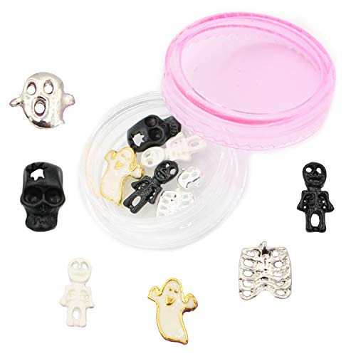 NAILDROBE 6 Halloween Nail Charms (Skull, Ghosts, Skeletons, Rib) 2019 Edition PLUS Reusable Storage Container