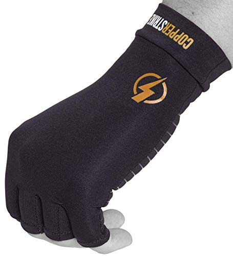 Copper Infused Compression Fingerless Arthritis Gloves Help Relieve Pain in Your Fingers Hand and Wrist | Improve Mobility and Circulation and Resume Normal Activities | by Copperstrike– 1 Pair Medium